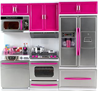AZ Trading & Import Psk54 My Modern Kitchen Full Deluxe Kit Battery Operated Kitchen Playset: Refrigerator, Stove, Microwave, Mix
