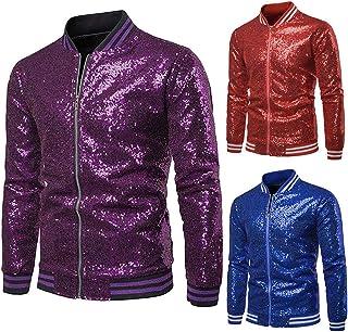 Men's Slim Fit Metallic Jacket,Long Sleeve Sparkle Sequin Shiny Zip Up Nightclub Varsity Bomber Party Jacket