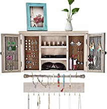 X-cosrack Rustic Hanging Jewelry Organizer,Wall Mounted Mesh Jewelry Holder,for Necklaces,Earings, Bracelets,Ring Holder,with Removable Bracelet Rod,Hooks,Wooden Barndoor Decor (Renewed)