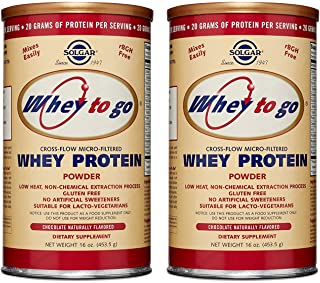 Solgar   Whey to Go Protein Powder, Natural Chocolate Flavor, 16 Ounce -2 Pack   Excellent Source of Protein
