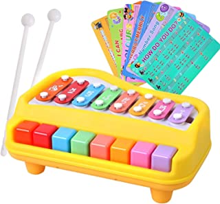 rainbow yuango 2 in 1 Piano Xylophone for Kids Multicolored 8 Keys Mini Percussion Glockenspiel Instrument with Music Cards(Yellow)