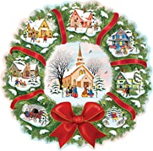 Bits and Pieces - 750 Piece Shaped Puzzle - The Village Wreath, Christmas, Wreath, Holiday - by Artist Rosiland Solomon - 750 pc Jigsaw