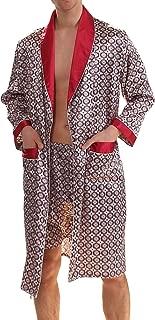 Men's Luxurious Kimono Robe with Shorts Summer Printed Silk Satin Bathrobes
