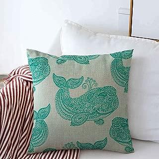 Starojun Throw Pillows Covers Cushion Case Travel Blue Aqua Pattern Whale Paisley Doodle Mehndi Adorable Aquarium Aquatic Baby Design Happy Cotton Linen for Fall Couch Home Decor 16 x 16 Inches
