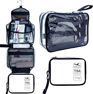 Samtour Hanging Toiletry Bag, Clear Travel Toiletry Bag with Detachable TSA Approved Small Clear Bag Airline 3-1-1 Carry On Compliant Bag Makeup Bag for Men and Women (Black)
