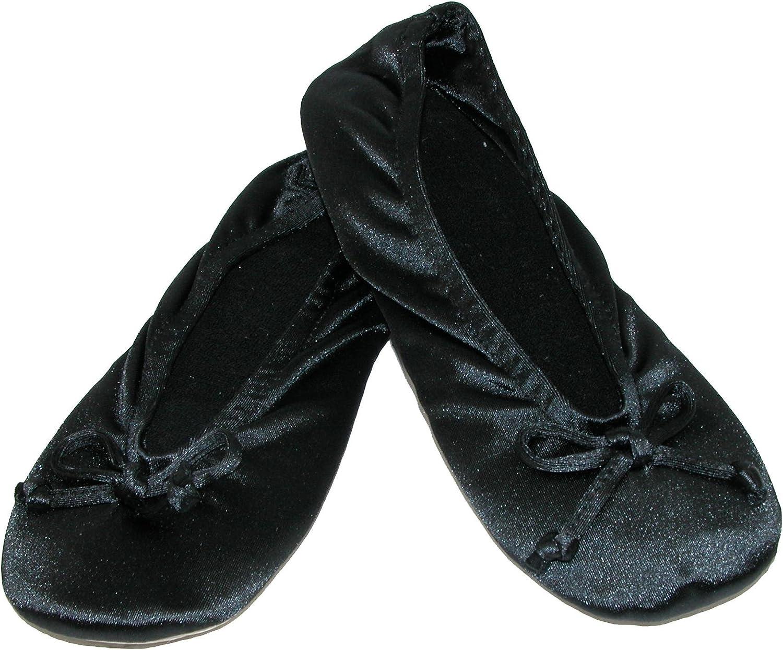 Isotoner Women's Satin Plus Size Ballerina Slippers (Pack of 2), Black Black
