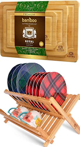 popular Bamboo Cutting sale Board Set and Dish Drying Rack by Royal Craft online sale Wood online