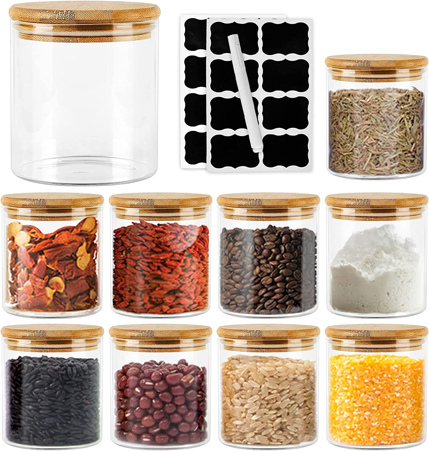 Al sold out. Glass Jars Set Los Angeles Mall 16oz 9 Pack for Storage with Food Bamboo Lids Air