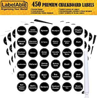 450 Printed Spice Jar Labels & Pantry Stickers | Black Chalkboard Round Spices Label 1.5
