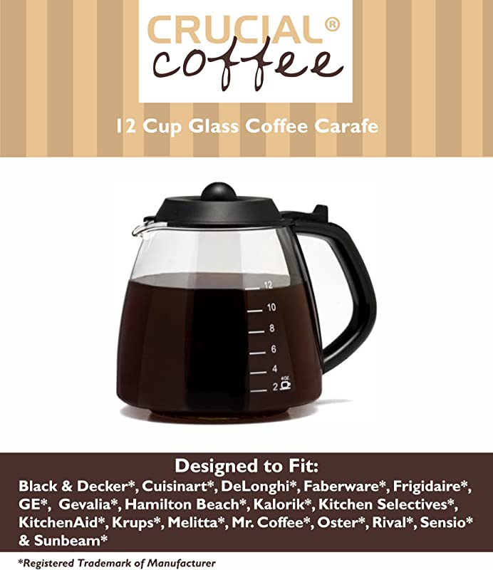 Universal Fit 12 Cup Glass Coffee Carafe Fits Black Decker Cuisinart DCC 1200 DGB 900BC DeLonghi Hamilton Beach Krups Melitta Mr Coffee BVMC SJX33GT CG13 Many More Compare To Part GL312
