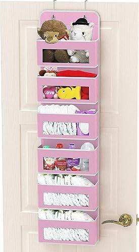 SimpleHouseware Baby Over The Door Hanging 6 Clear Window Pocket Organizer, Pink