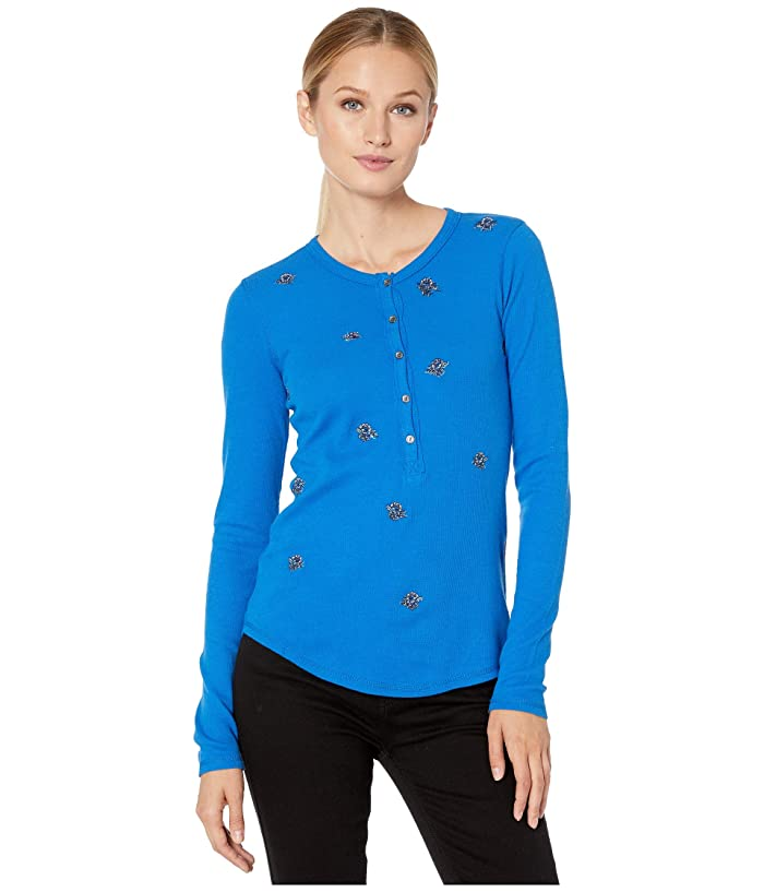 Lucky Brand  All Over Embroidered Thermal Top (Princess Blue) Womens Clothing