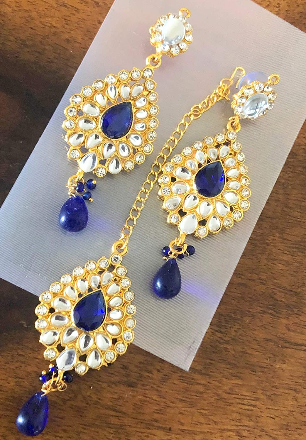 Dancing Girl Tear Drop with Kundan Leaves Indian Jewelry for Women Necklace Set