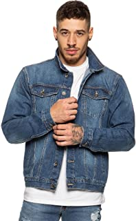 Enzo Mens Designer Denim Jacket Western Classic Style Trucker Vintage Style Coat