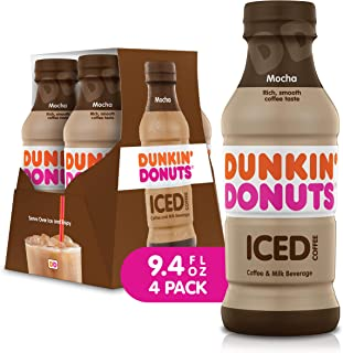 Dunkin Donuts Iced Coffee Beverage, Mocha, 9.4 Fluid Ounce (Pack of 4)
