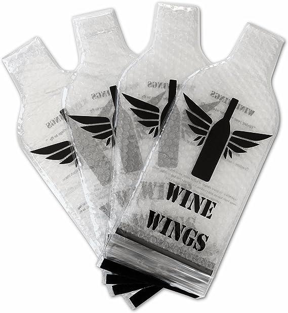 Wine Wings Upgraded 4 Pack Reusable Bottle Protector Sleeve Travel Bag Luggage Leak Safe