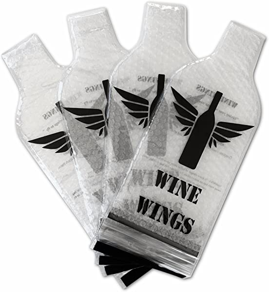 Wine Wings 4 Pack Reusable Bottle Protector Sleeve Travel Bag Luggage Leak Safe