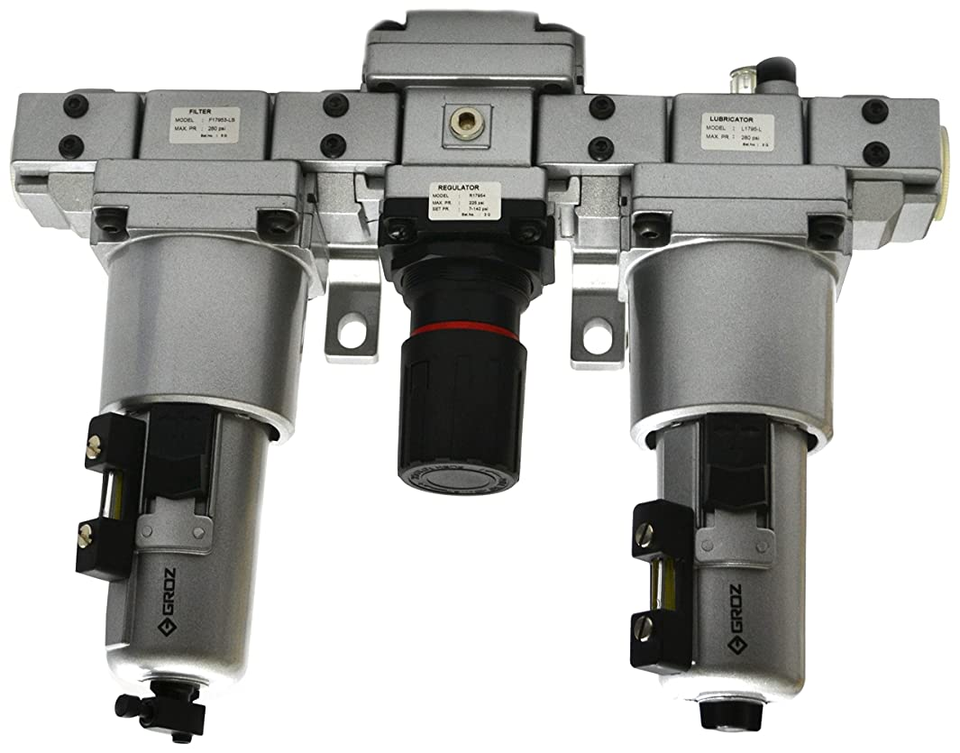 Groz 60584 Air Filter - Regulator - Lubricator, Modular 3 Piece, Metal Bowl, Standard – 1