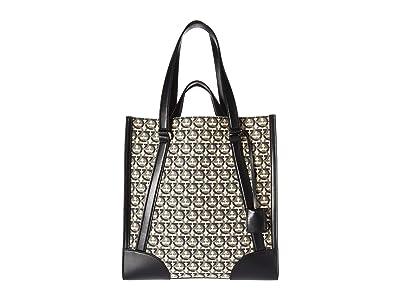 Salvatore Ferragamo The Gancini Tote 24A101 (Beige/Black) Handbags