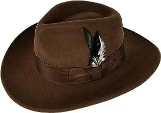 Men's 100% Crush-able Wool Felt Outback Cowboy Indiana Jones Fedora Hats