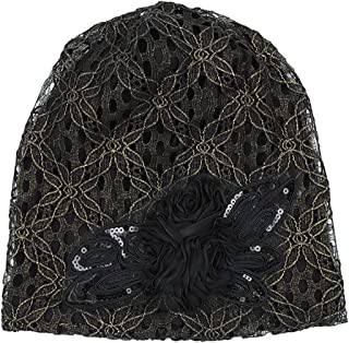 ARHSSZY Women's Lace Flower Slouchy Baggy Skullies Cap Chemo Beanie Cancer Hat