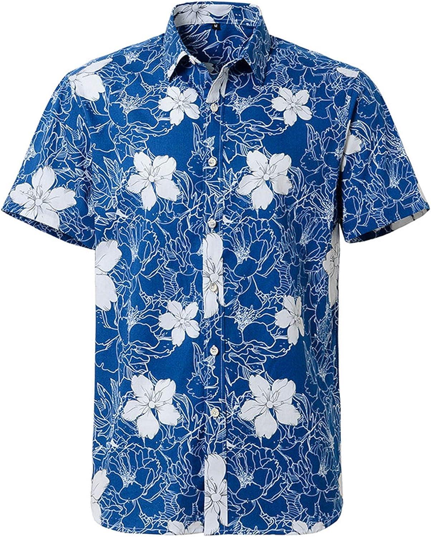 Lu's Chic Men's Button Down Shirt Short Sleeve Beachwear Funny Shirts Hawaiian Cotton Vintage