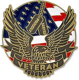 PinMart Proudly Served American Flag Eagle U.S. Veteran Magnetic Lapel Pin