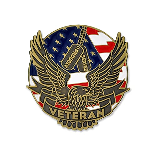 80c18d5c PinMart Proudly Served Veteran Eagle Patriotic Enamel Lapel Pin