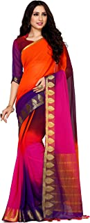 MIMOSA Women's Kanchipuram Chiffon Saree With Unstitched Blouse Piece (4091-2130-4D-RBLU_Multicolored)