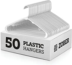 White Standard Plastic Hangers (50 Pack) Durable Tubular Shirt Hanger Ideal for Laundry & Everyday Use, Slim & Space Saving, Heavy Duty Clothes Hanger for Coats, Pants, Dress, Etc. Hangs up to 5.5 lbs