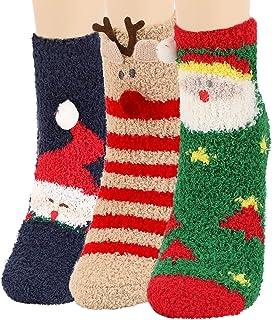 JUPSK, Calcetines de navidad Calcetines de Invierno algodón Calcetines de Coral Abrigados Lindo regalo de navidad para mujeres, niñas y niños, 3 Pares