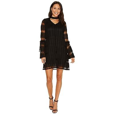 Laundry by Shelli Segal Mock Neck Pleated Lace Dress (Black) Women