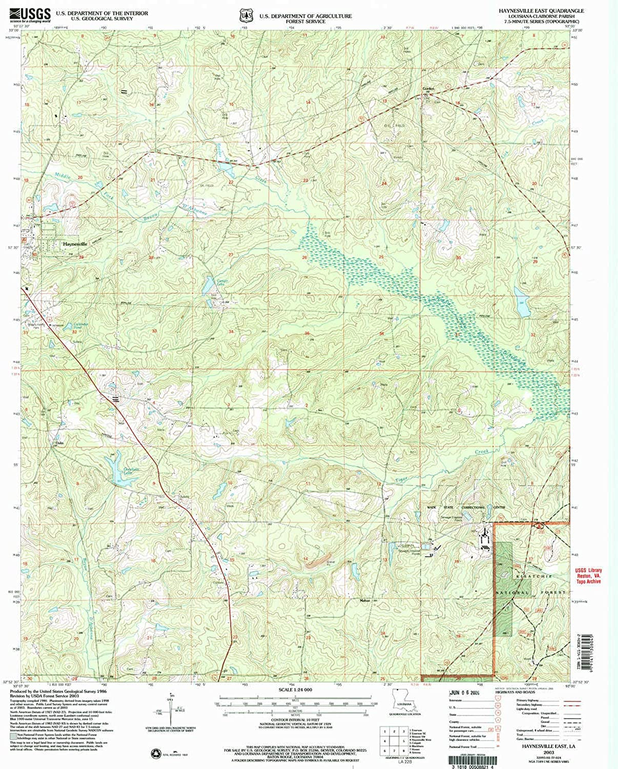 Haynesville East LA topo map, 1 24000 Scale, 7.5 X 7.5 Minute, Historical, 2003, Updated 2005, 26.8 x 22 in
