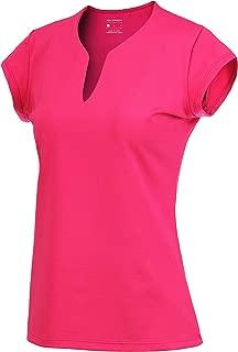 32e-SANERYI Women's V-Neck Pullover Short Sleeve Sports Shirts Quick-Drying Tees