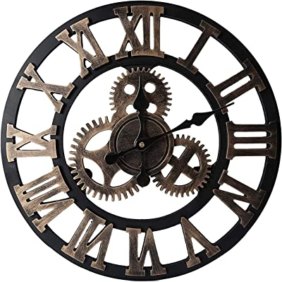 50cm Large Roman Numeral Wall Clock - Silent Non-Ticking Decorative Wall Clock for Cafe