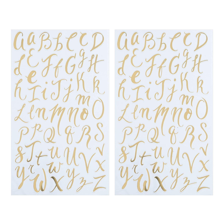 Darice 30052960 Small Handwritten Font Letter Stickers: Gold Foil, 104 pc
