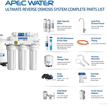 APEC Water Systems RO-90 Ultimate Series Top Tier Supreme Certified High Output 90 GPD Ultra Safe Reverse Osmosis Dri...