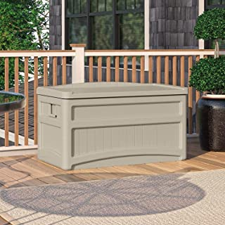 Suncast 73 Gallon Patio Storage Box - Water Resistant Outdoor Storage Container for Patio Furniture, Pools Toys, Yard Tools - Store Items on Deck, Porch, Backyard - Taupe