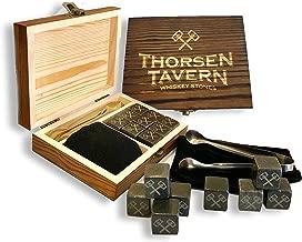Whiskey Stones Set by Thorsen Tavern - 9 Granite Whiskey Chilling Stones, 1 Tongs set & 1 Black Velvet Bag in Elegant Wooden Box; Keep Your Whiskey, Bourbon and Scotch Slightly Chilled & Flavorful