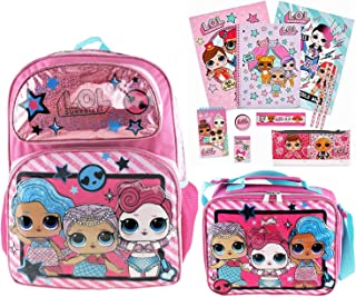 """L.O.L. Surprise! Mermaid 16"""" Backpack and Insulated Lunch Bag Plus 11 Piece Stationery Set"""