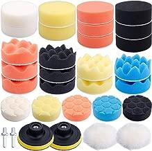 Augshy 31 Pcs Car Foam Drill Polishing Pad Kit, 3 Inch Buffing Pads,Sponge Set Kit M10 Drill Adapter Car Polisher