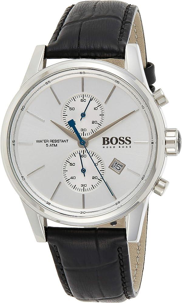 Hugo boss, orologio cronografo per uomo,con cassa in acciaio e cinturino in vera pelle 1513282