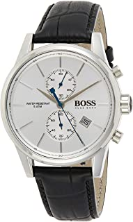 Hugo Boss Jet Men's White Dial Leather Band Watch - 1513282, Analog Display, Quartz Movement