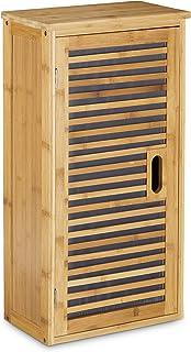 Relaxdays Armario de Pared con 1 Estante Flexible Hecho de bambú para el Cuarto de Baño Salón o Pasillo con Medidas 66 x 3...