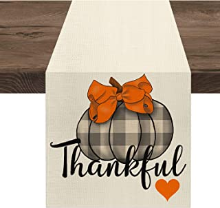Ekorest Thanksgiving Table Runner 72 Inches Long,Thankful Buffalo Plaid Pumpkins Coffee Table Runner,Fall Decorations for ...