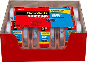 "Scotch Heavy Duty Shipping Packaging Tape, 1.88 Inches x 800 Inches, 1.5"" Core, Clear, Great for Packing, Shipping & Moving, 6 Rolls with Dispenser (142-6)"