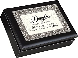 Daughter You Have Added so Much Beauty & Joy, Matte Black with Ornate Silver Inlay, Jewelry Music Box - Plays You Are My Sunshine