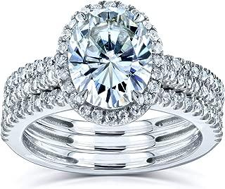 Kobelli Oval Moissanite Halo 3-Piece Bridal Rings Set 2 1/2 CTW 14k White Gold