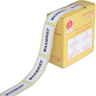 'Maxi Letter for Labelling Quick and Correct Gifts with Name 1486300Labels for Deutsche Post, Black Lettering on White Background, on Rolls in Dispensers White