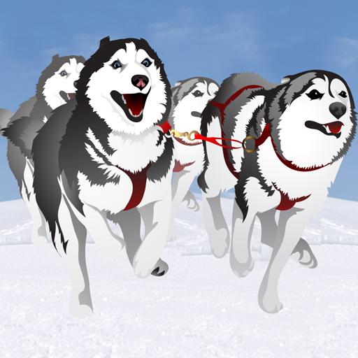carrera de trineos tirados por perros en invierno: el perro de trineo de hielo frío en el Polo Norte - edición gratuita